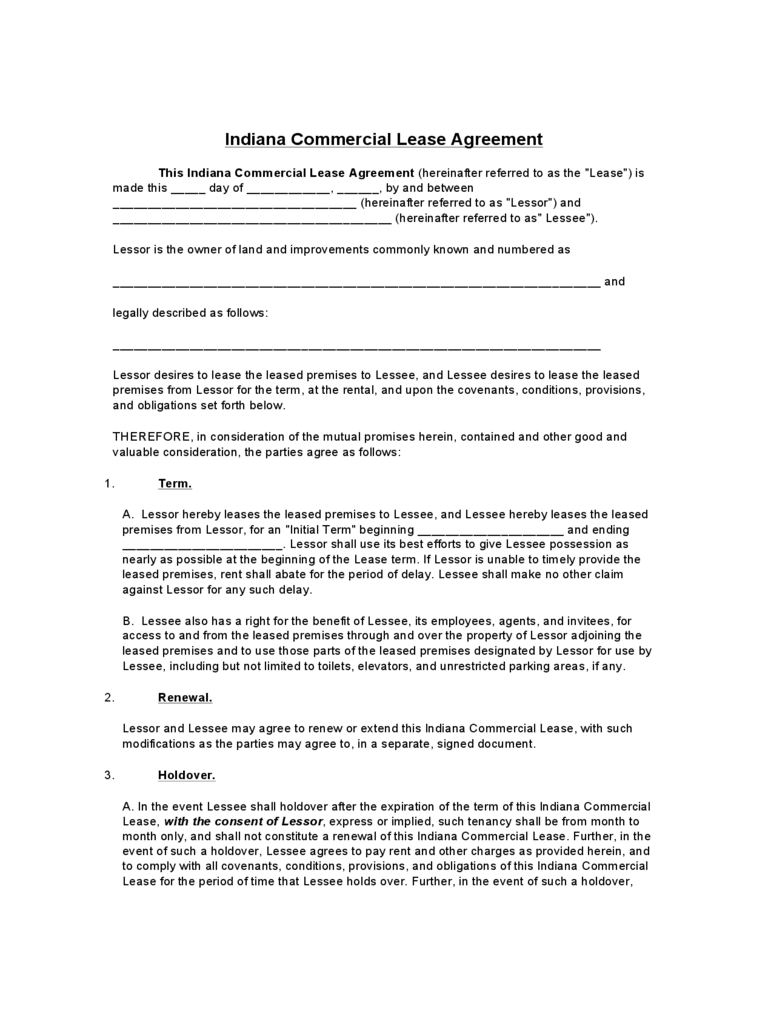 Indiana Commercial Lease Agreement