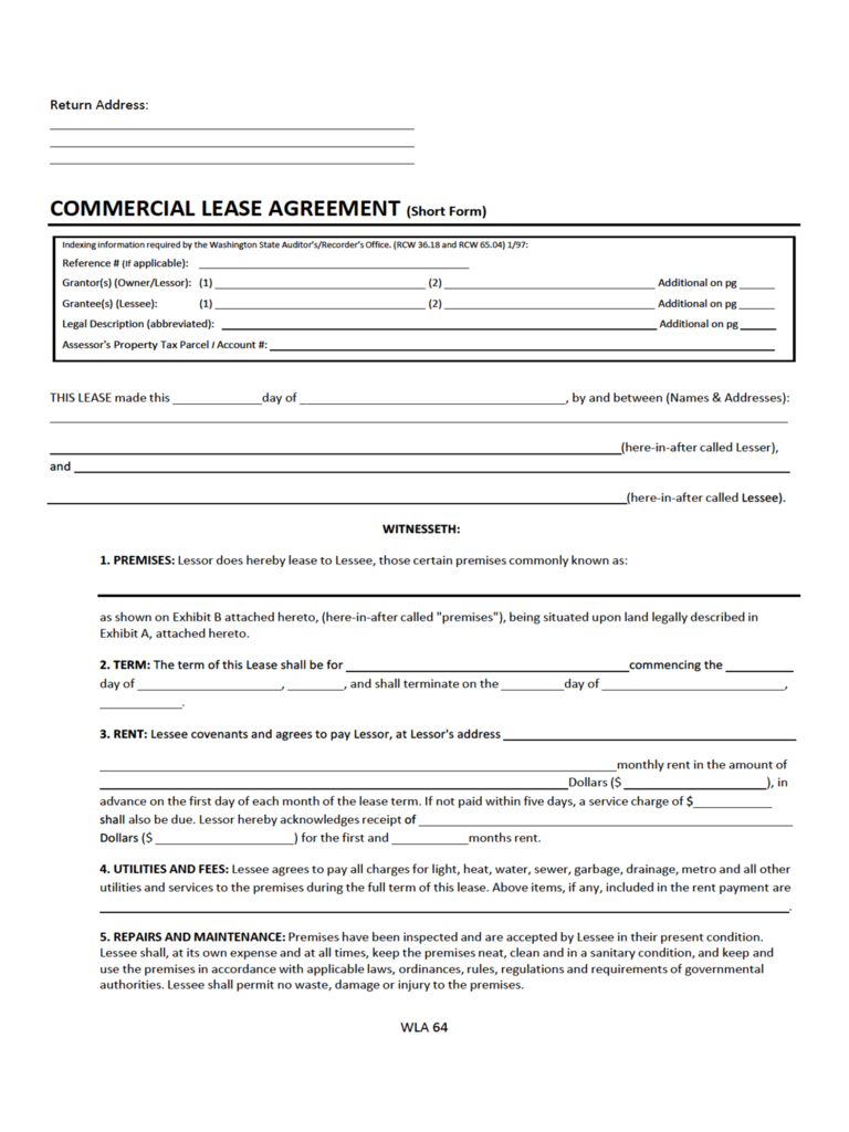 Washington Commercial Lease Agreement