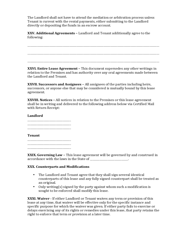 Texas Commercial Lease Agreement Free Download