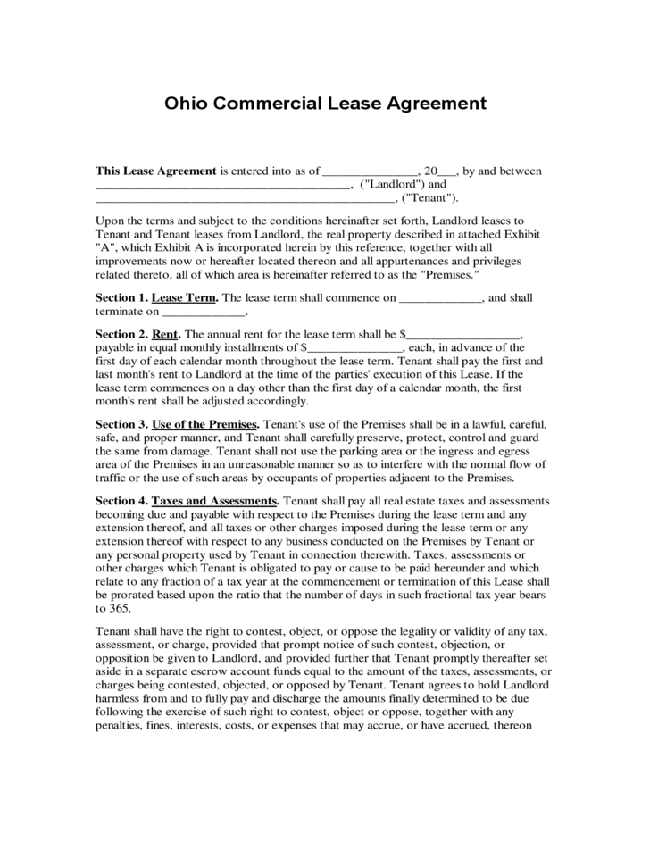 Ohio Commercial Lease Agreement Free Download
