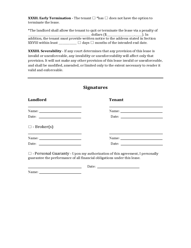 Pennsylvania Commercial Lease Agreement Free Download