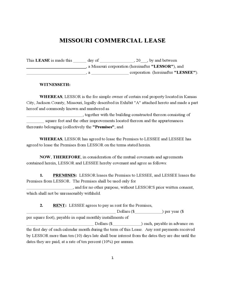 1 Missouri Commercial Lease Agreement