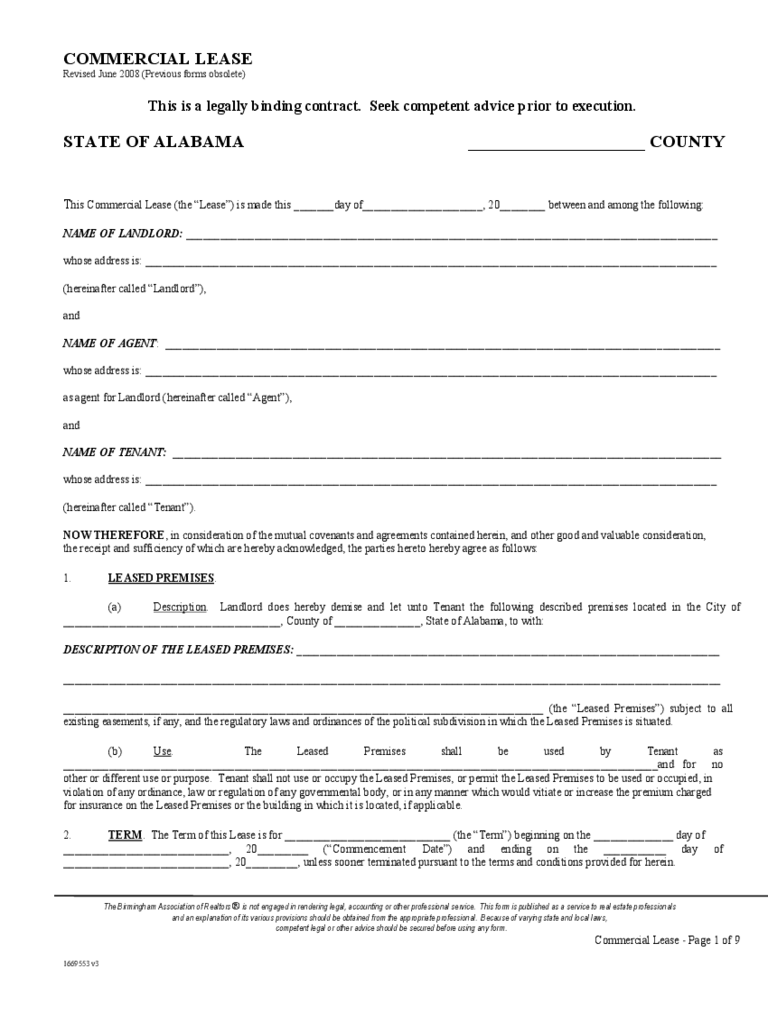 Alabama Commercial Lease Agreement Template
