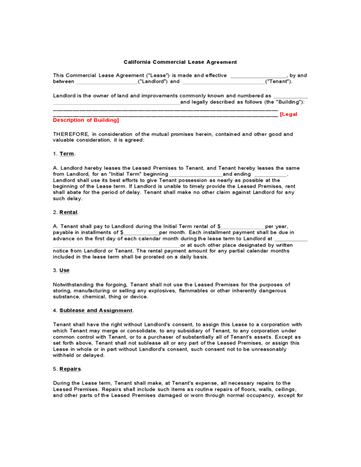 California Commercial Lease Agreement Free Download