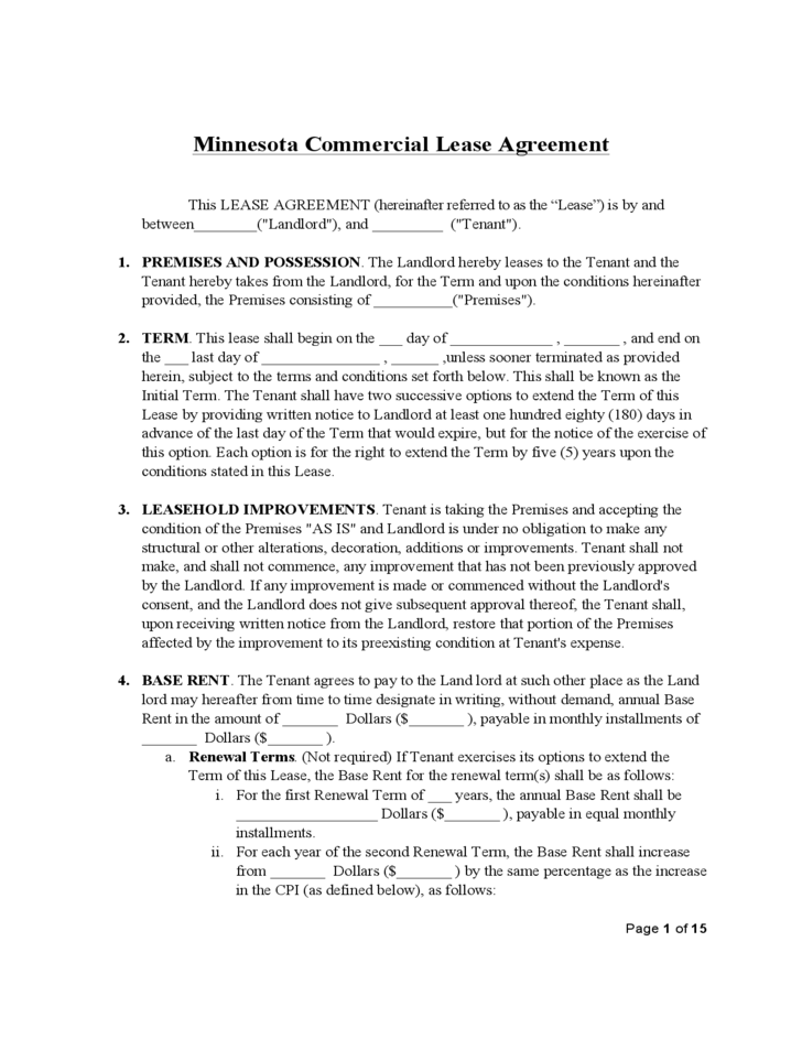 Minnesota Commercial Lease Agreement Template Free Download