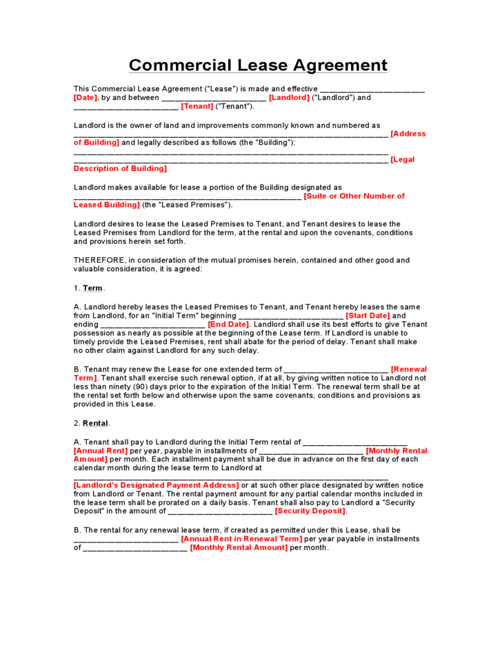 Texas Commercial Lease Agreement Form Free Download