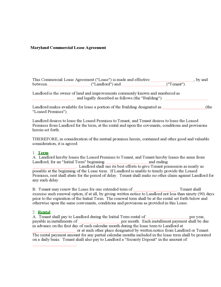 how to create resume maryland lease agreement form free 22270 | maryland commercial lease agreement form l1