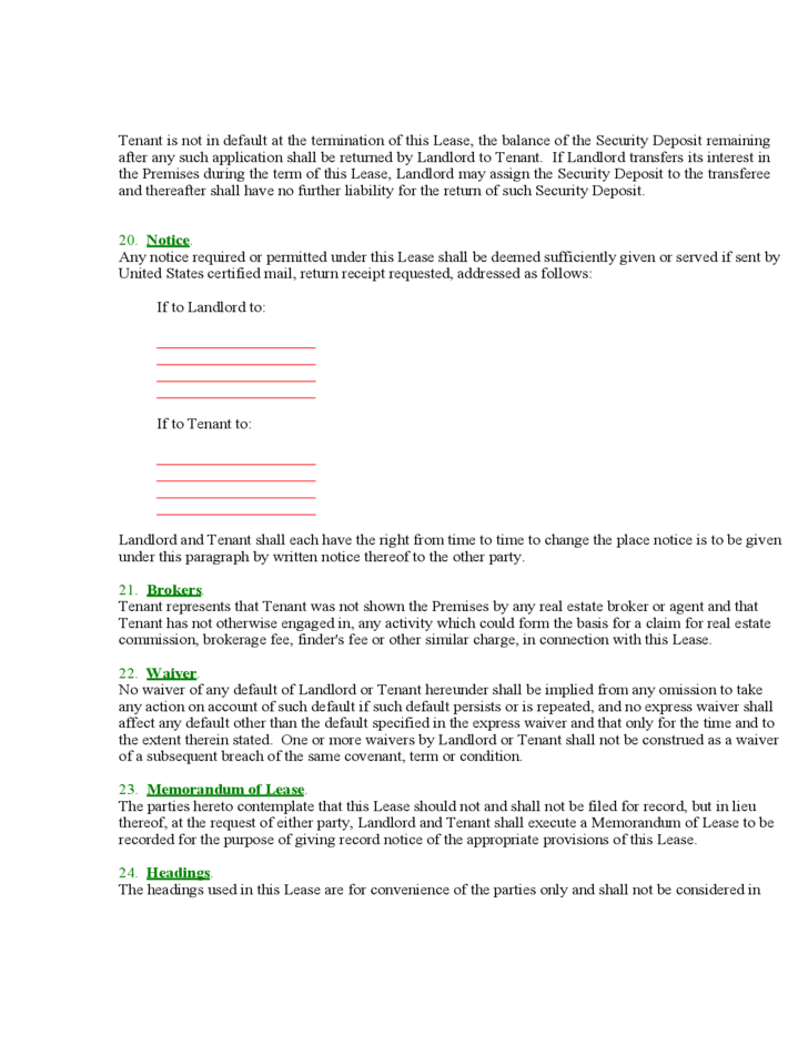 Maryland Mercial Lease Agreement Form Free Download