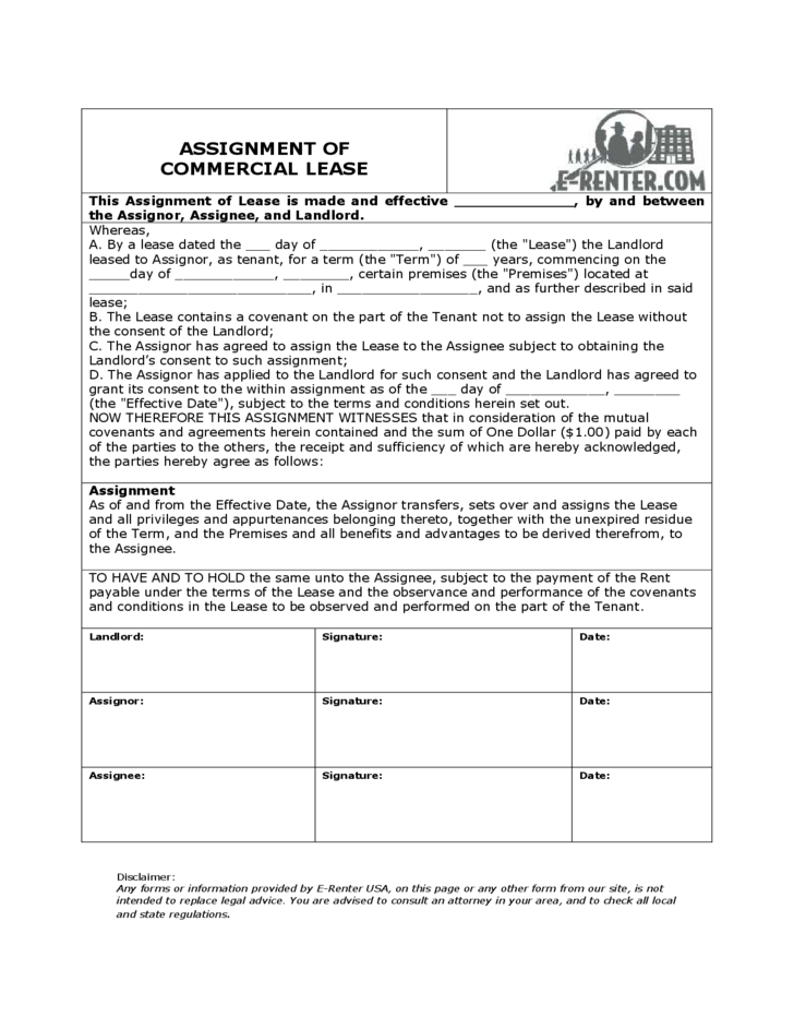 Assignment of commercial lease free download for Assignment of benefits form template