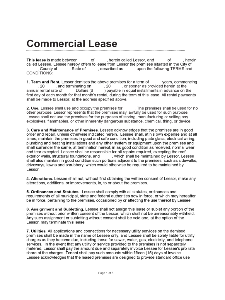 commercial lease agreement doc monthly expense report template