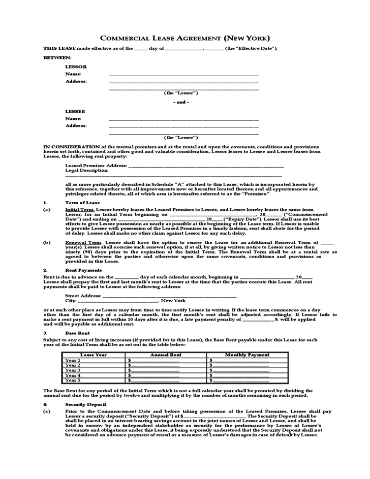 Mercial Lease Agreement New York Free Download