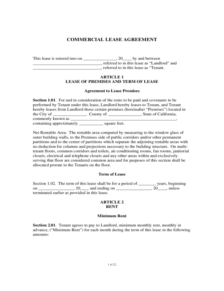 1 Sample Commercial Lease Agreement