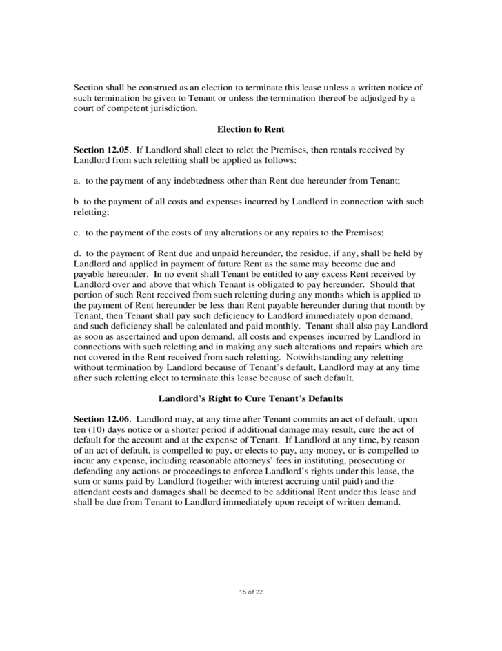 15 Sample Commercial Lease Agreement