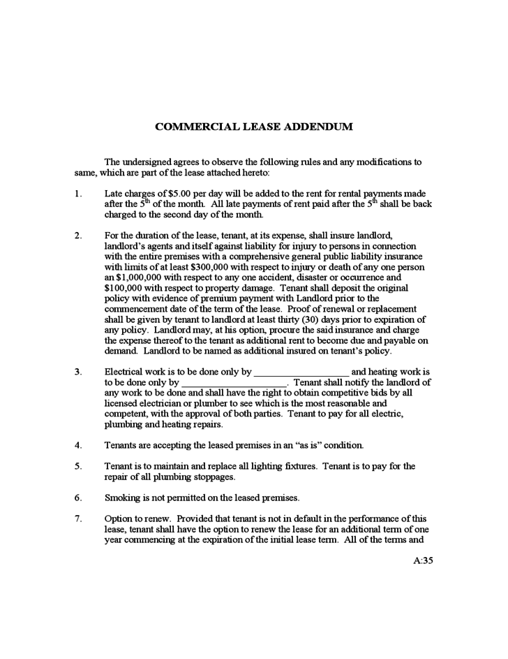 COMMERCIAL LEASE ADDENDUM