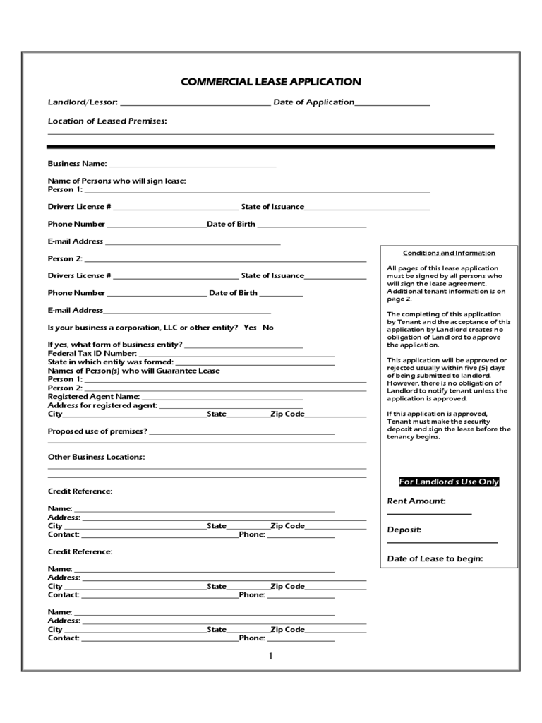 commercial lease form 53 free templates in pdf word