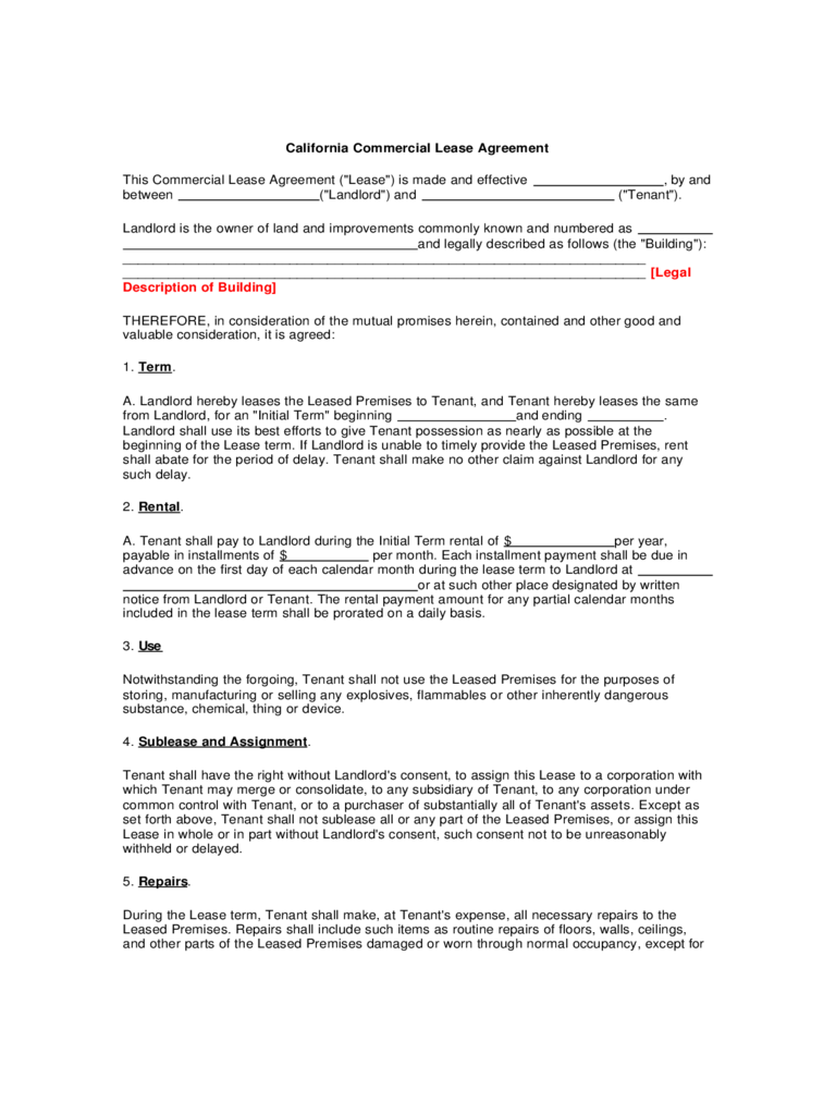 commercial lease agreement template free pdf australia