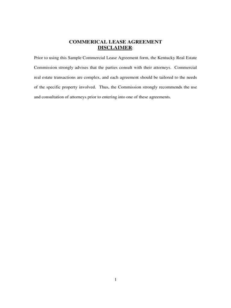 Commercial Lease Agreement - Kentucky