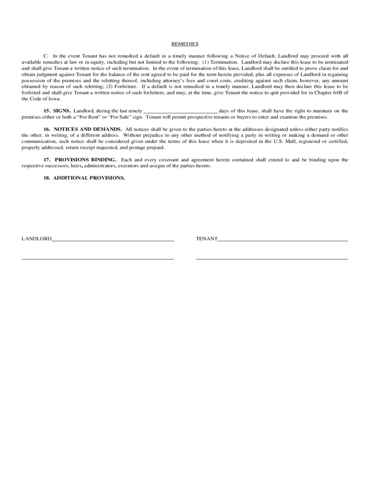 Iowa Mercial Lease Agreement Free Download