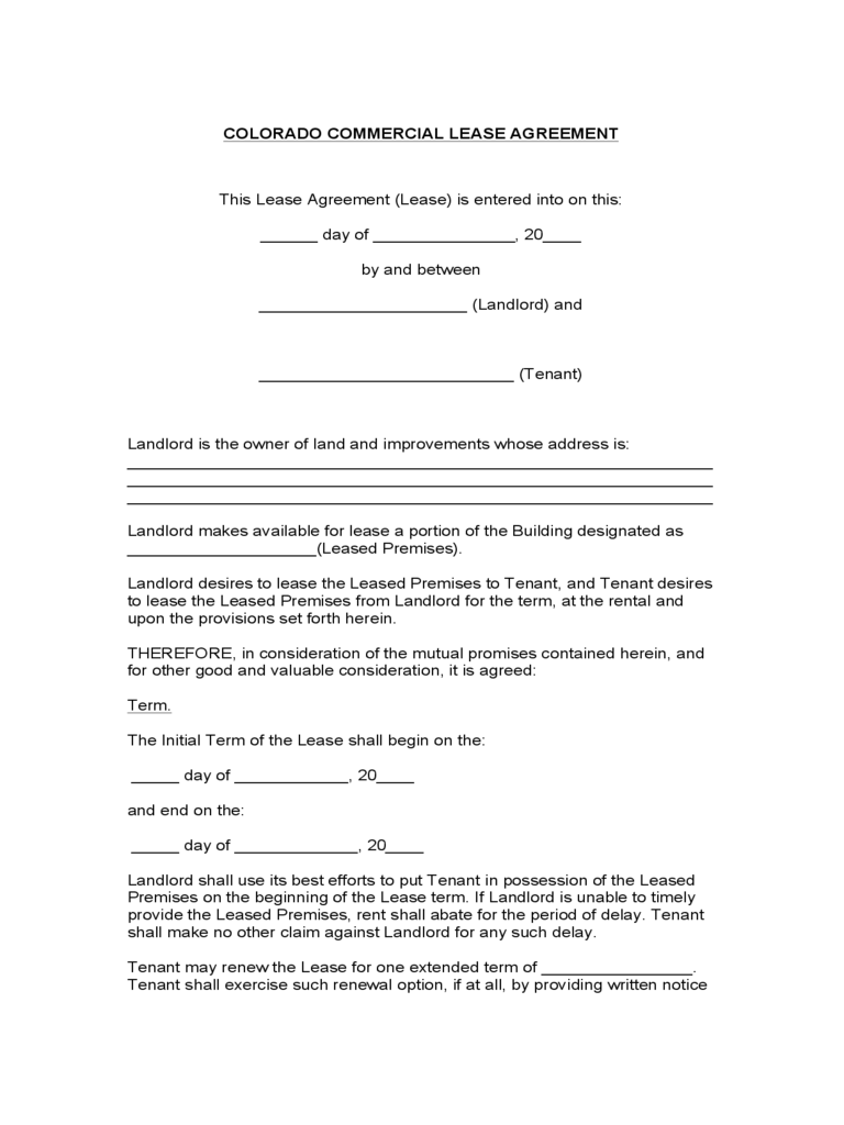 Commercial Rental Agreement Form. Colorado Commercial Lease Agreement  Free Rental Agreements