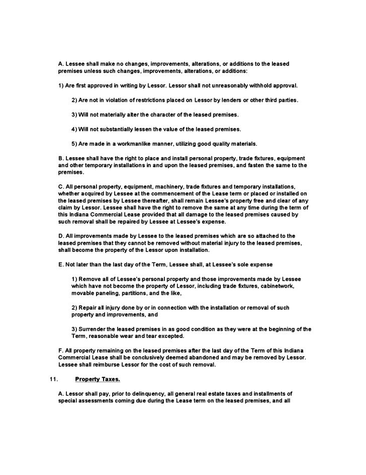 Indiana Mercial Lease Agreement Template Free Download
