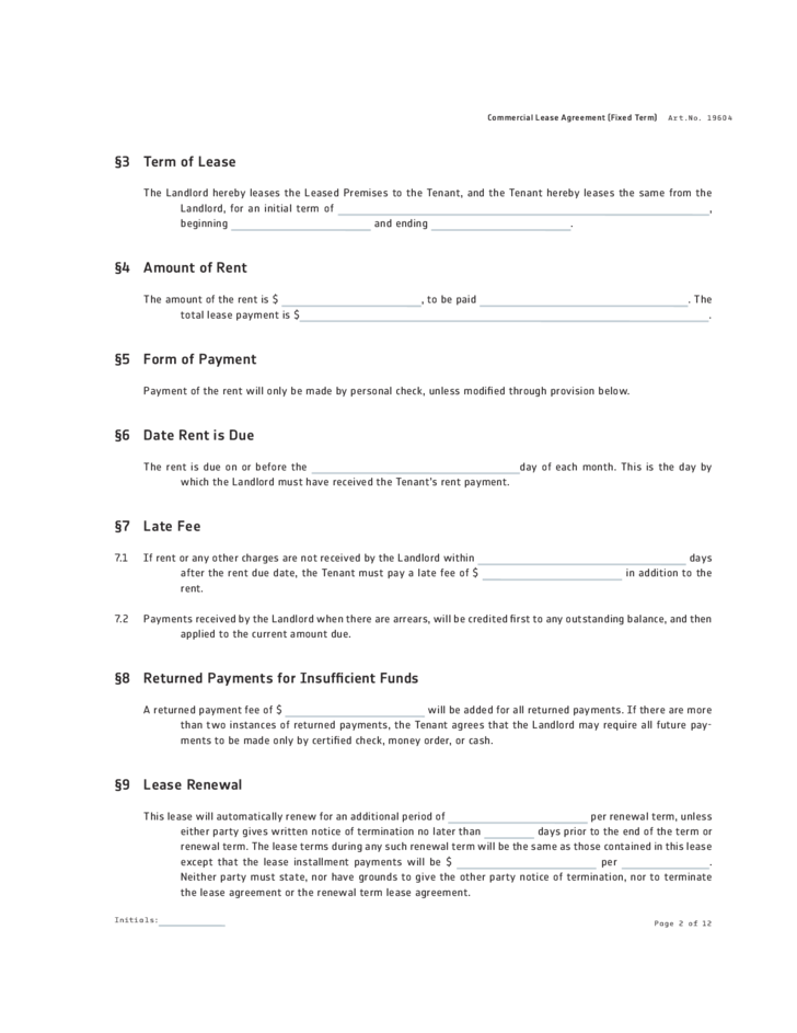 Michigan Commercial Lease Agreement Form Free Download