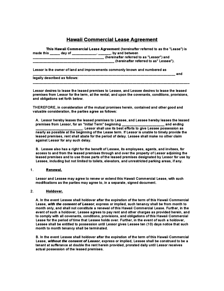 hawaii commercial lease agreement template free download. Black Bedroom Furniture Sets. Home Design Ideas
