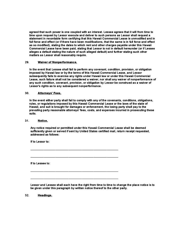 hawaii commercial lease agreement template free download