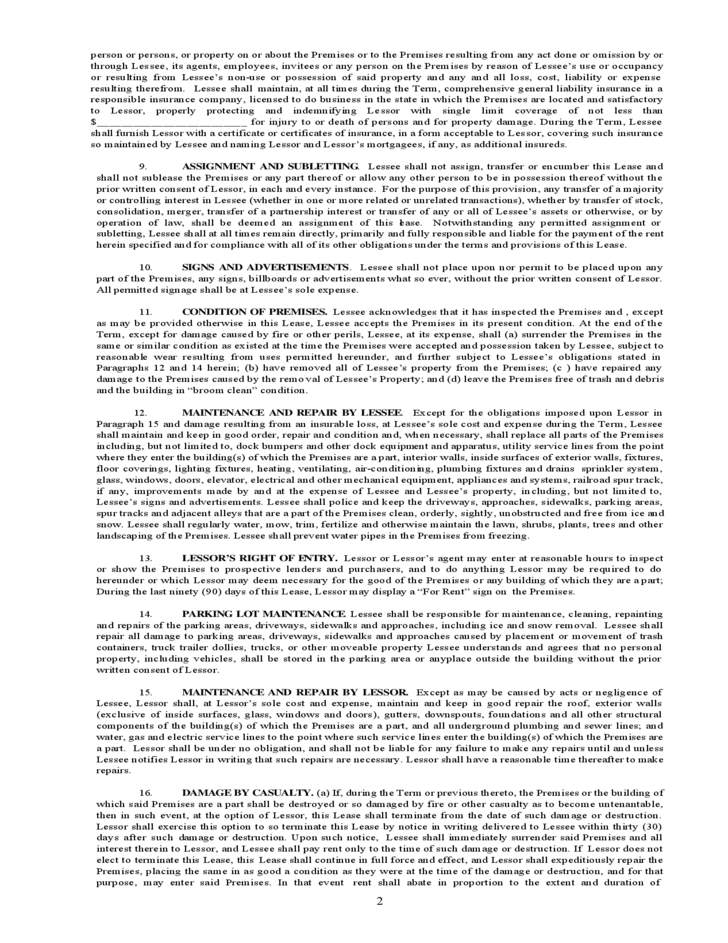 Illinois Mercial Industrial Lease Agreement Free Download
