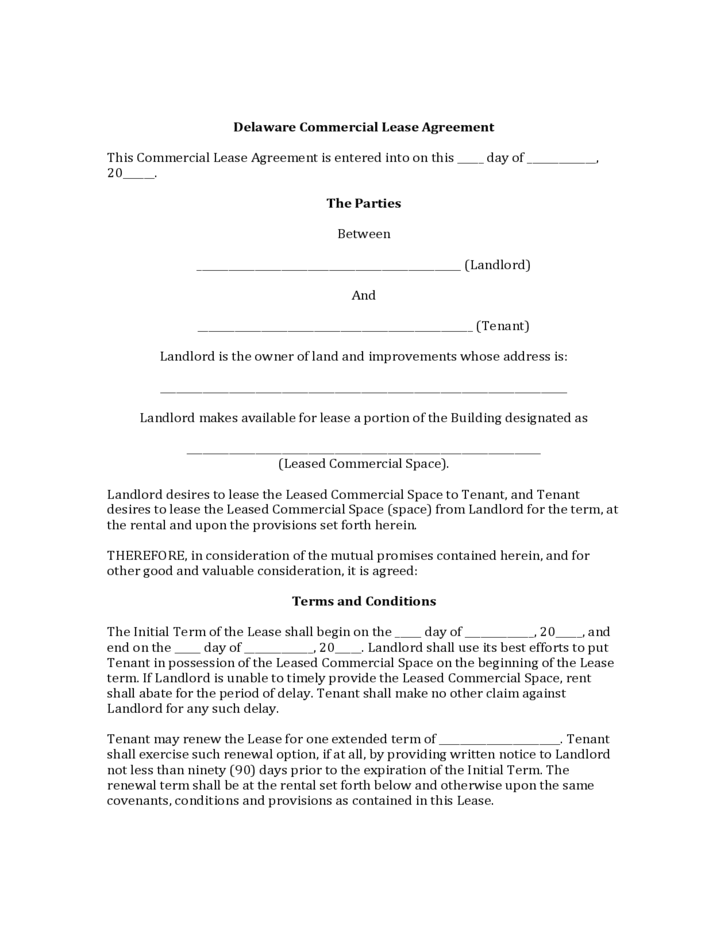 Delaware Commercial Lease Agreement Template Free Download
