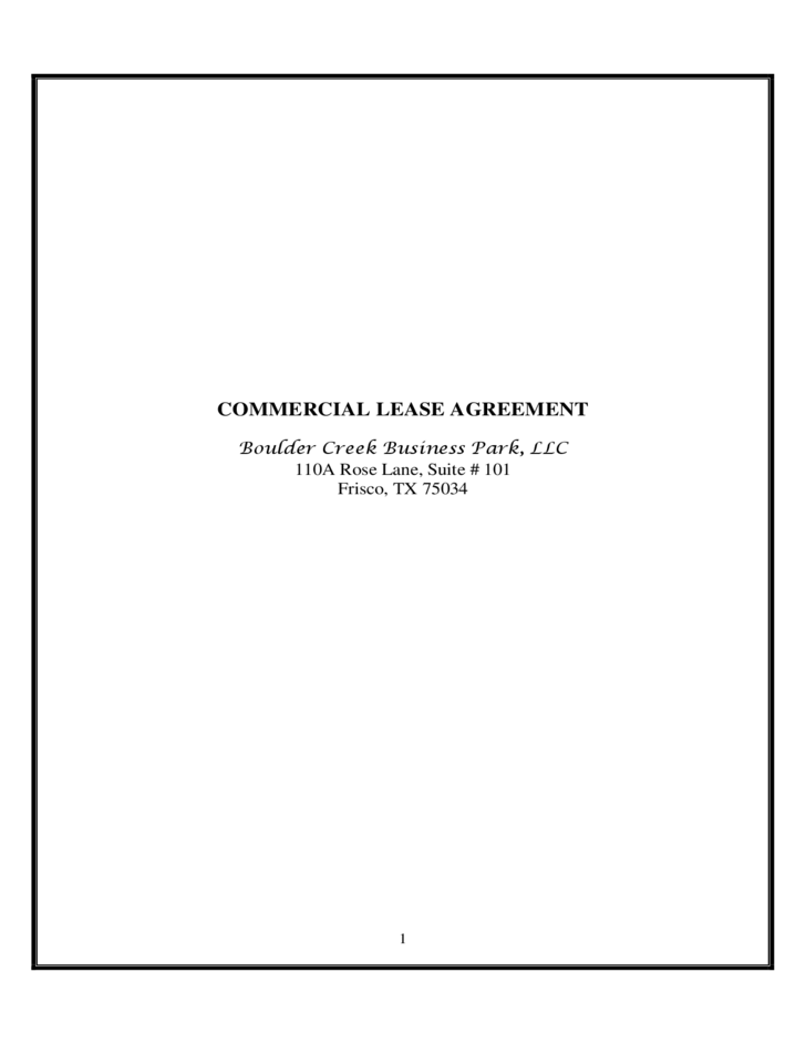 COMMERCIAL LEASE AGREEMENT FORM