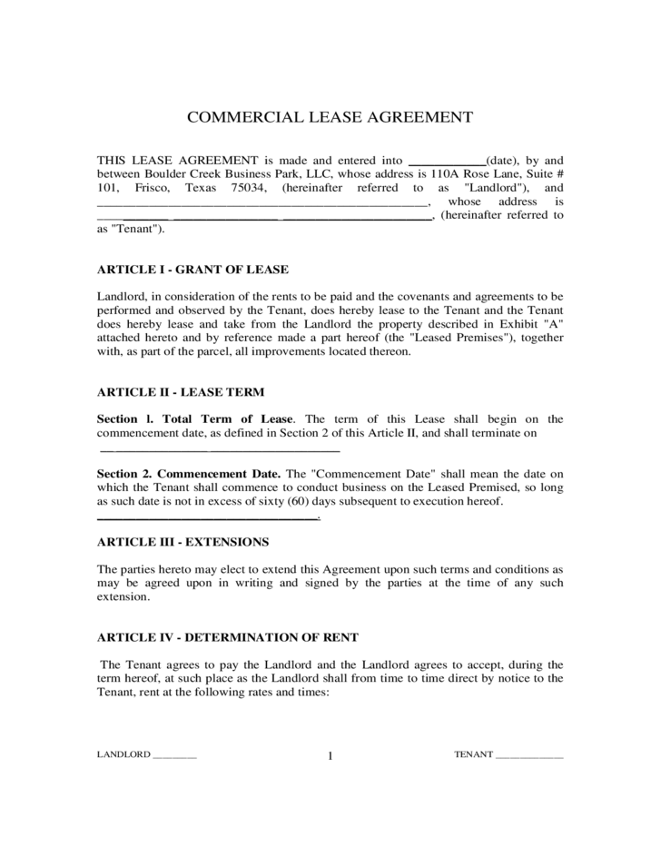 Free Commercial Lease Agreements Forms Militaryalicious