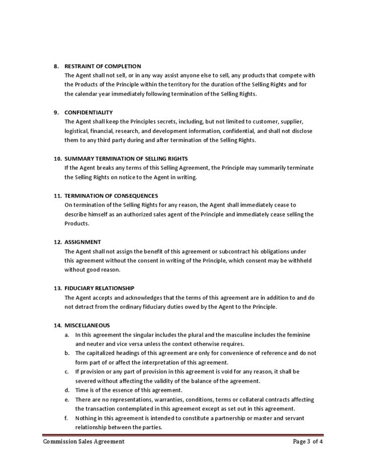 Mission Sales Agreement Free Download