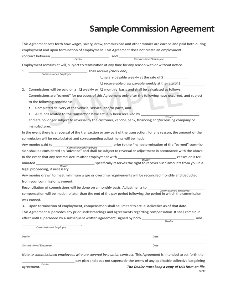 sample commission agreement gnyada free download