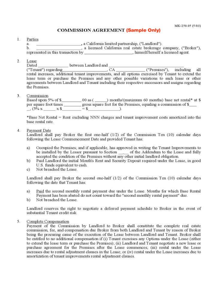 commision contract template - commission agreement free download