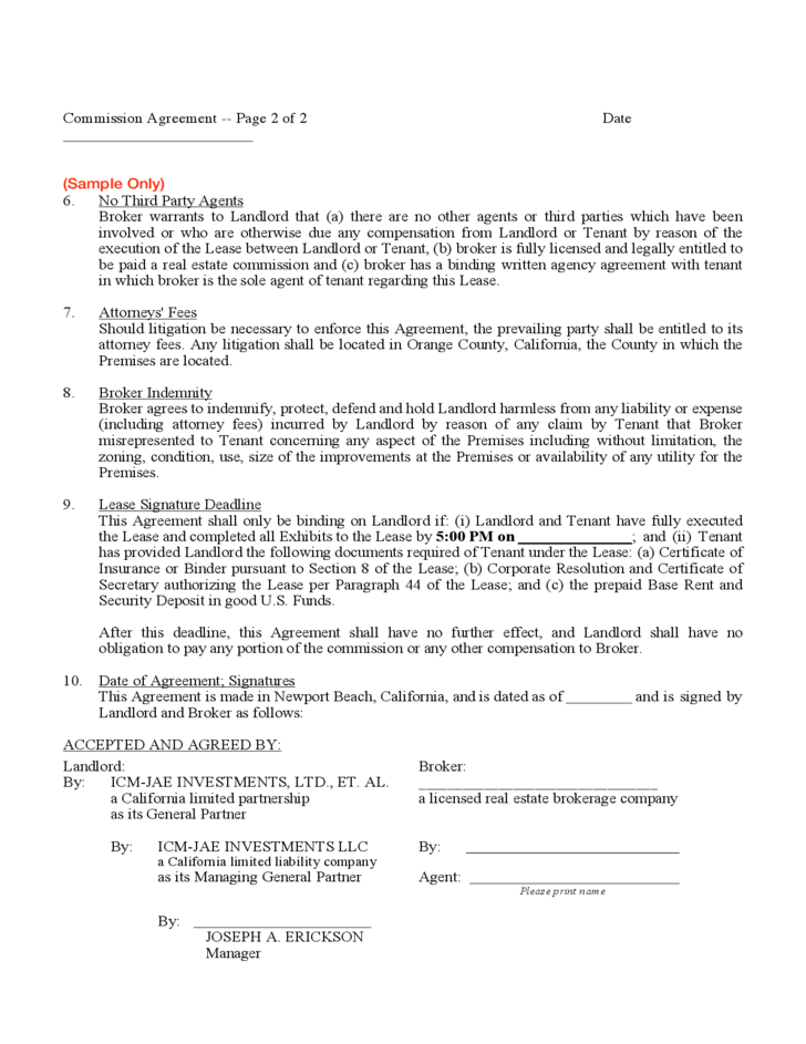 Commission agreement free download for Commission only contract template