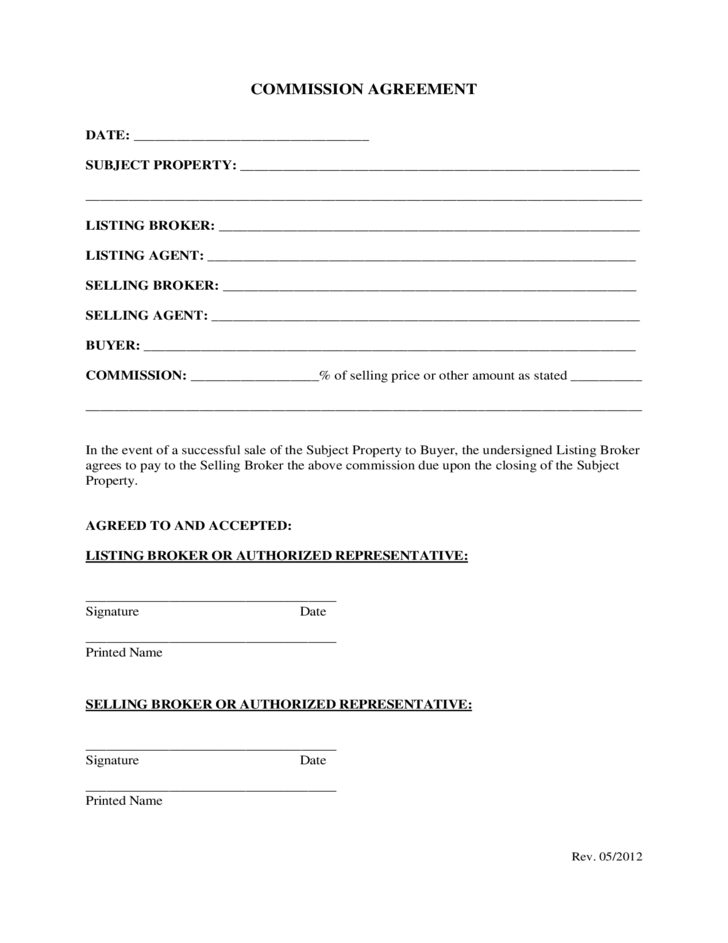 Commission agreement template free download for Commission sharing agreement template