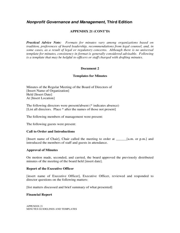 minutes guidelines and templates free download