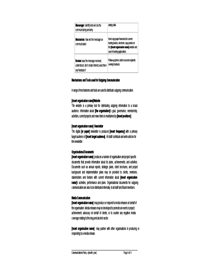 Communications Policy Sample Free Download