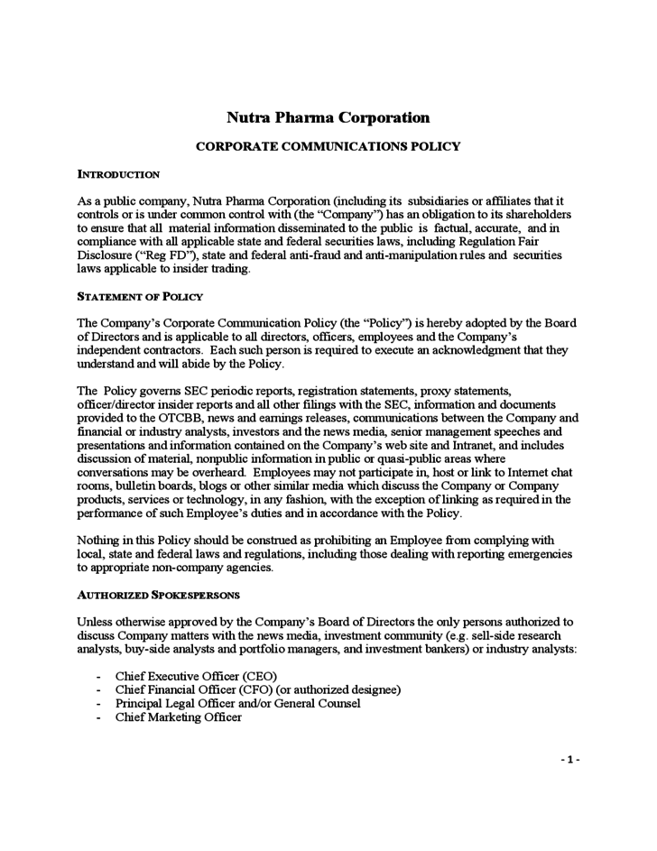 communication policy template - corporate communications policy free download