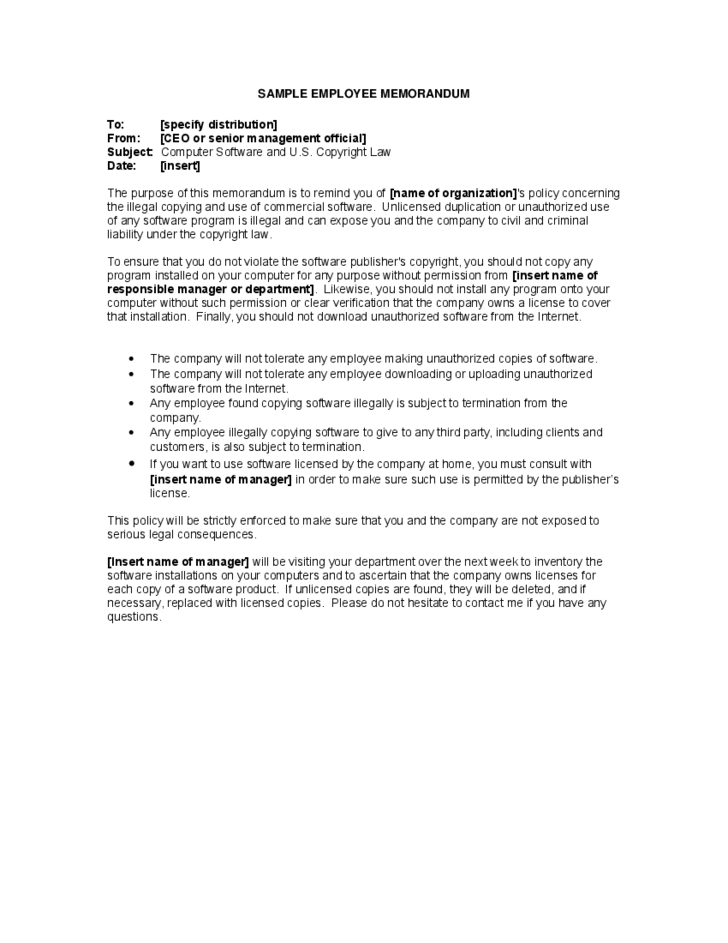 Sample employee memorandum free download for Hr memo template
