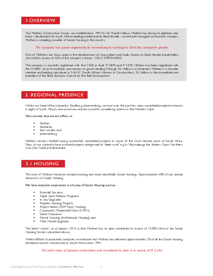Construction company profile sample free download for Security company profile template