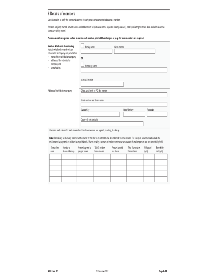 Application for Registration As An Australian Company