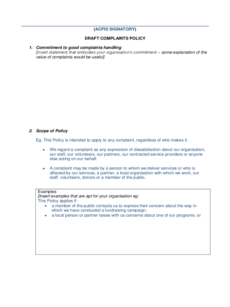 Draft Complaint Policy