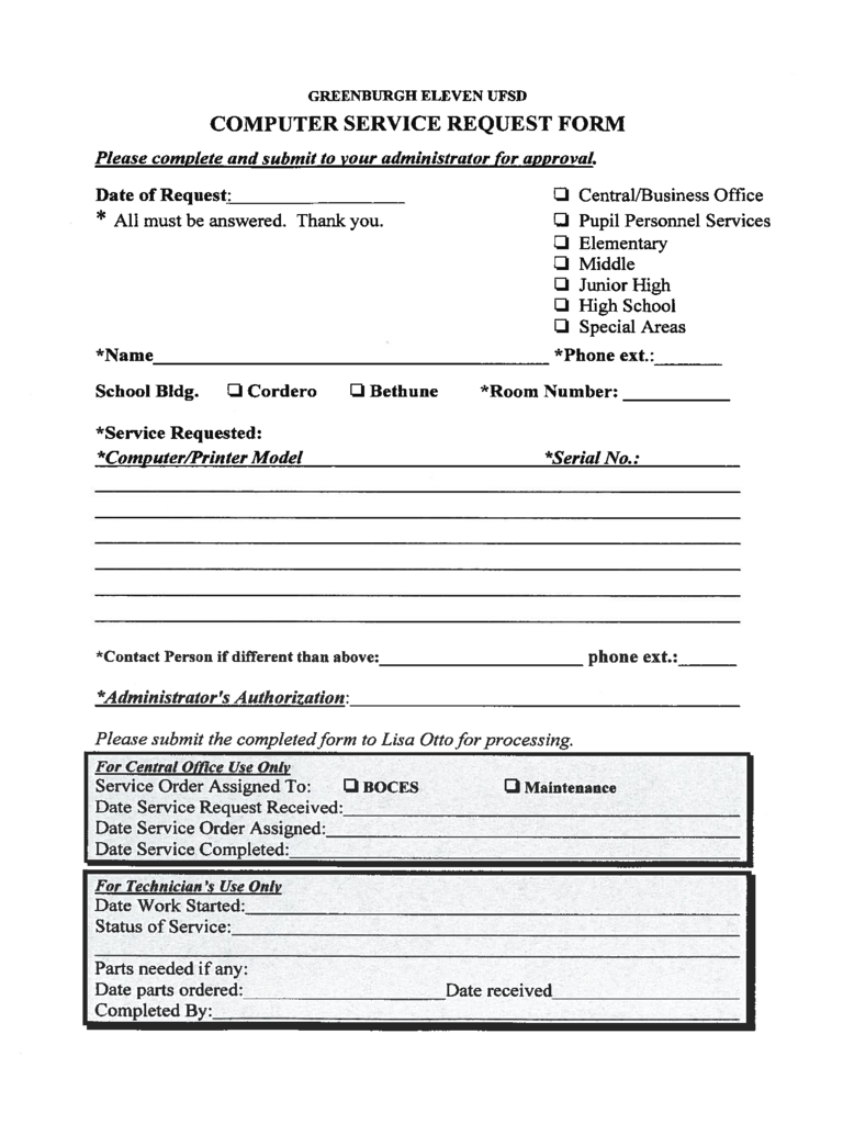 service request form template excel