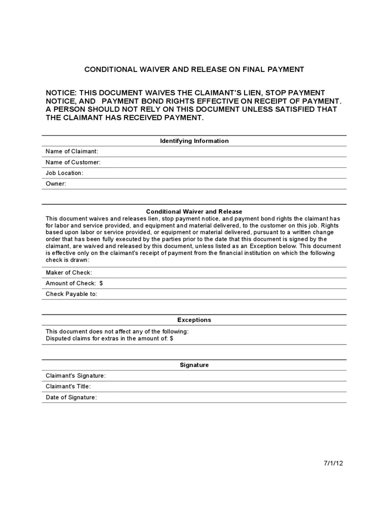 Conditional Waiver and Release on Final Payment - California