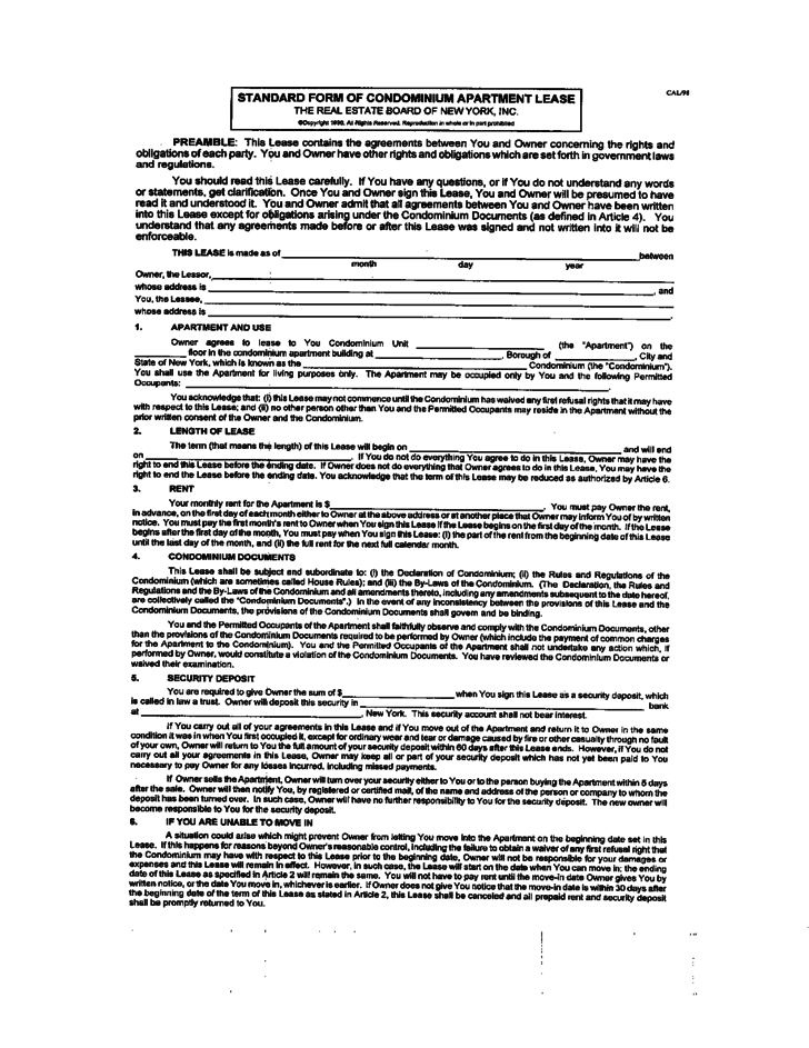 Standard Form Of Condominium Lease Agreement Free Download - Condo rental agreement template