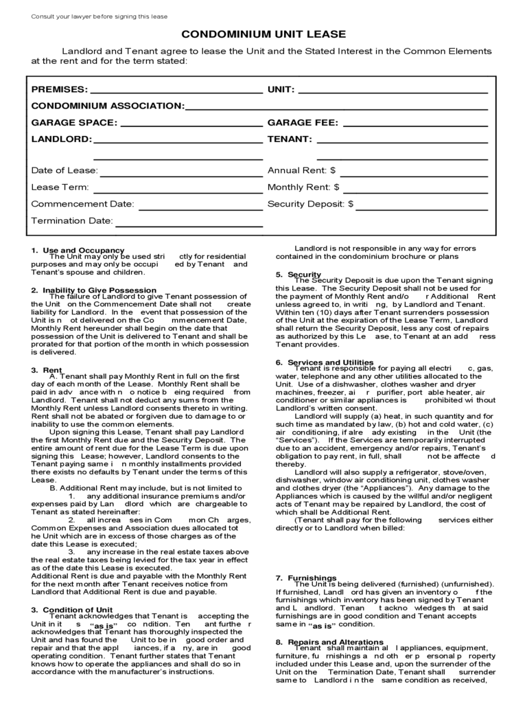 Doc404526 Template Lease Printable Sample Rental Lease – Free Sample Lease Agreement