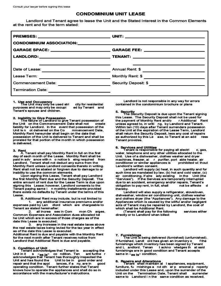 Condominium Lease Agreement Template Free Download