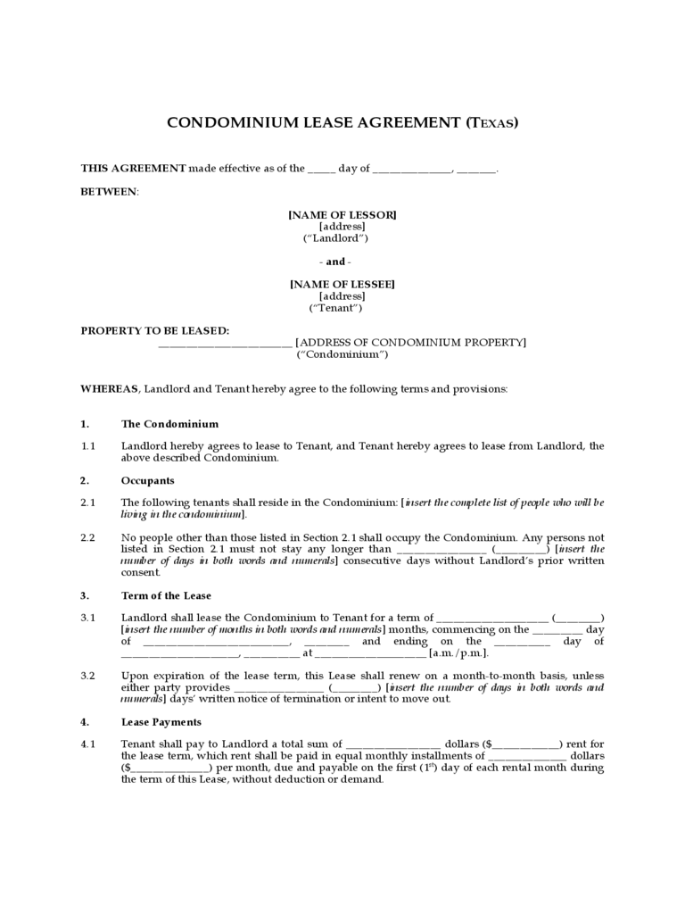 Condominium Lease Agreement - Texas