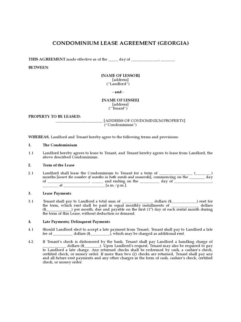 Condo Lease Agreement 10 Free Templates in PDF Word Excel Download – Lease Agreement Template Word Free Download